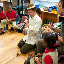 Nameless Sound includes homeless shelters in its  education outreach. Here Director David Dove plays through a session with children at Star of Hope.