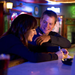 Matt Damon plays company man Steve with Rosemarie DeWitt&#039;s schoolteacher character.