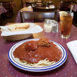 "Old-fashioned comfort food: Spaghetti ""Works."""