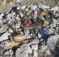 Indians and tourists leave offerings on a mountain they call Wirikuta. (Click here for video footage atop Mount Wirikuta.)