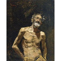 Elderly Nude Man in the Sun  by Mariano José Maria Bernardo Fortuny y Carbó employs a loose, painterly, expressive style