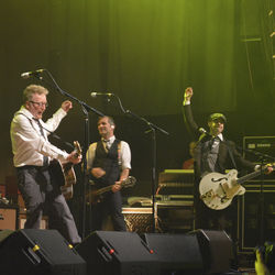 Dave King (left) and Flogging Molly kept House of Blues' security team hopping during the band's recent Houston stop.