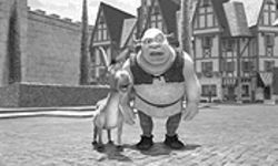 The times they aren't a-changing: Shrek's sidekick Donkey (Eddie Murphy) — an animated Rochester yes-bossing his superior (Mike Myers)?