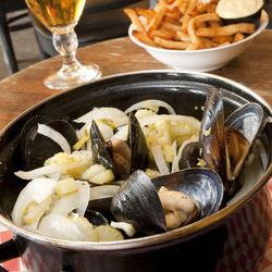 Chase your mussels and fries down with a cold beer.