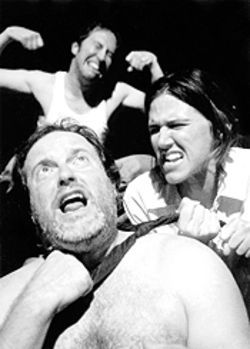 "Mae (Amy Bruce), Henry (Charlie Scott, front) and Lloyd (Troy Schulze) live and ""die in the mud."""