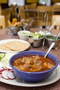 The parade of posole garnishes never seems  to stop.