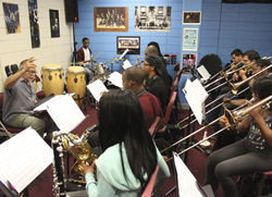 Joe Sample, who became a heavy-hitting jazz musician after leaving his native Houston in 1958, leads a big-band rehearsal at Texas Southern University. The Crusaders' co-founder, hired by TSU President John Rudley in fall 2012, is currently TSU's jazz-studies program's artist-in-residence.