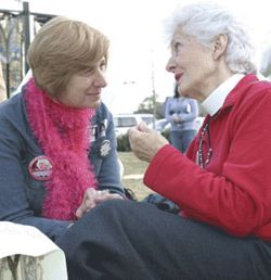 "Noted war protester Cindy Sheehan met with Barbara Bush during a recent Houston visit. Mrs. Bush calmly explained that Sheehan's son was one of the body bags that she couldn't ""waste my beautiful mind on."" Actually, Sheehan is talking to Helen Havens, who recently retired from her long stint as a rector of St. Stephen's Episcopal."