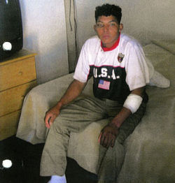 Elmer, pictured here in the hotel room where police found him, has since disappeared.