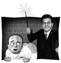 An inmate, a cattle prod and Rice University alum  Alberto Gonzales -- perfect together.