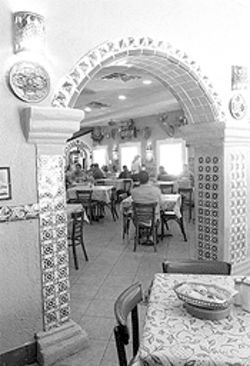 In living color: Fonda Dona Maria's brightly hued interior is like a Mexican mercado with food.