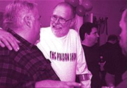 Gay and prison activist Ray Hill greets guests at his October 21 party.