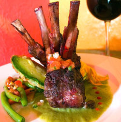 The rack of lamb was crusted with spices and perfectly cooked.