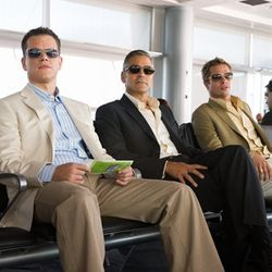 The same stunt reprised, starring Matt Damon, George Clooney and Brad Pitt.