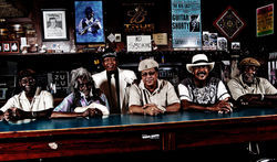 Left-right: Houston bluesmen Texas Johnny Brown, Little Joe Washington, Milton Hopkins, Eugene Moody, George Brown and Don Kesee have set the bar high for younger generations of guitarists.