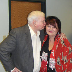 Author Pat Conroy, who wrote The Prince of Tides, shows his appreciation of Patrick during Girlfriend Weekend, an annual gathering of the Pulpwood Queens in Jefferson.