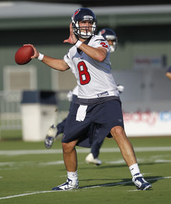 Quarterback Matt Schaub excelled last year; he better at least match it this year.