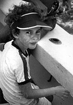 The author as a kid, shown here on calmer seas  during a fishing trip.