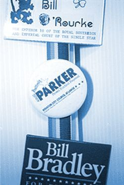 Parker's campaign button: No sexual politics.