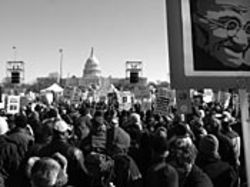 Thousands assemble on the Mall.