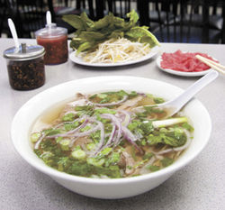 One of the best in Houston: Eye-of-round-steak and flank pho.