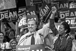 Howard Dean (shown with Sheila Jackson Lee) heats up the partisan Houston crowd.