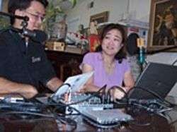 Michael and Wendy Chung podcast a quiz show from  their living room in Meyerland.