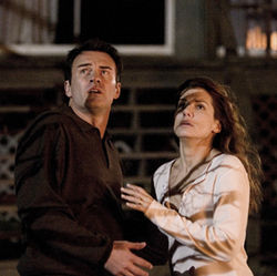 Sandra Bullock as Linda wonders if letting her husband (played by Julian McMahon) die is the same as killing him.