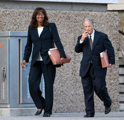 Priscilla Slade and her attorney Mike DeGeurin received a mistrial their first time around.  Slade will be retried in March.