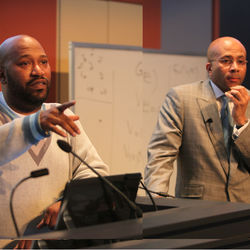 Bun B (left) and Dr. Anthony B. Pinn hold court in their Religious Studies 331 class at Rice University.