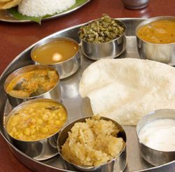 One of the most popular items at Balaji Bhavan is the Madras thali.