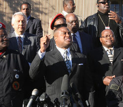 More tempered in many respects, Quanell X is still out in front of controversial issues as he rages against racial profiling at a protest outside the Bellaire Police Department.