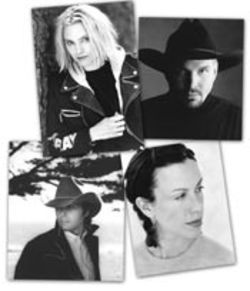 Clockwise, from top left: Aimee Mann, Garth Brooks, Alanis Morissette, and Dwight Yoakam have lent their support to Artists Against Piracy.