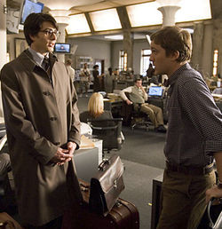 Brandon Routh (left, with Sam Huntington) is no Christopher Reeve.