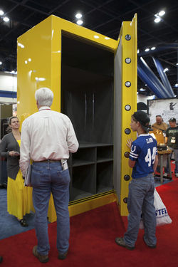 A massive gun safe made even NFL tight end Dallas Clark look tiny.