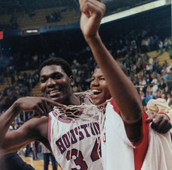 Hakeem Olajuwon (left), a key to the Phi Slama Jama teams, was the first overall pick in the NBA draft after he left the university.