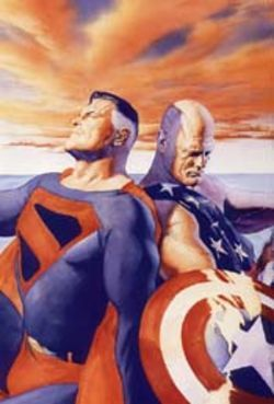 The two sides of Alex Ross: Kingdom Come's Superman and EarthX's Captain America, painted for Wizard magazine.