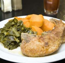 Expect one hell of a plate of soul food -- like the fried pork chop with greens and yams -- at a ridiculously cheap price.