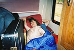 Drummer John Adams checks out some sleep time.