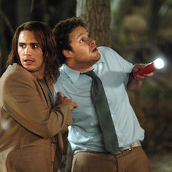 Pineapple Express weed gets Saul (James Franco) and Dale (Seth Rogen) in trouble.