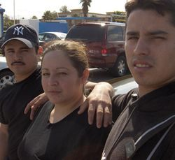 David Avila (right) and siblings Hayde Avila-Leon and Valentin Leon drove to Houston from Chicago after learning that their mother, Domitila Leon-Herrera, had been run over by a Metro bus.
