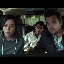 Safety Not Guaranteed, with Aubrey Plaza, Karan Soni and Jake Johnson, is a road-trip rom-com with a light sci-fi spin.