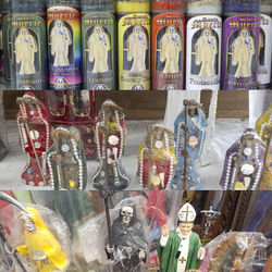 Santa Muerte is all over Houston, if you know where to look. She's on the shelves at most Fiesta stores, ruling over her very own dedicated botánicas, and vying for your attention alongside the Pope, Jesus and a drunken deer at an Airline Drive flea market.