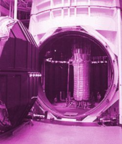 Before: A deflated Transhab awaits space-condition testing in NASA's giant vacuum chamber.