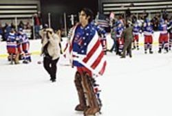 No hocky props, but acting chops: Eddie Cahill is perfect as Jim Craig, the U.S. team's famously dogged goalie.