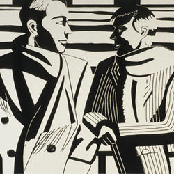 Alex Katz used woodblock to print 3PM, a portrait of Peter Blum and his wife.
