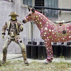 An Italian artist finds inspiration in John Wayne, his horse...