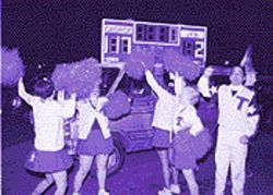 Cheerleaders performed in front of a gubernatorial scoreboard specially made for Billy Hughes&#039;s execution.