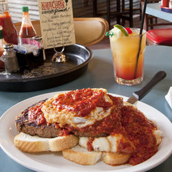Local country classic: open-faced meat loaf sandwich.