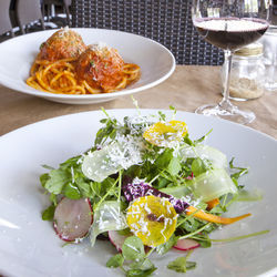 Texan, Tuscan, delicious: a dal giardino salad and the Meatballs XL.
